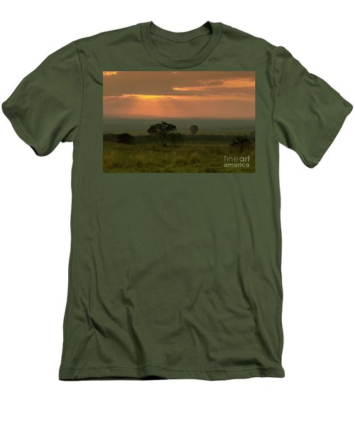 Men's T-Shirt (Slim Fit) featuring the photograph Masai Mara Balloon Sunrise by Karen Lewis