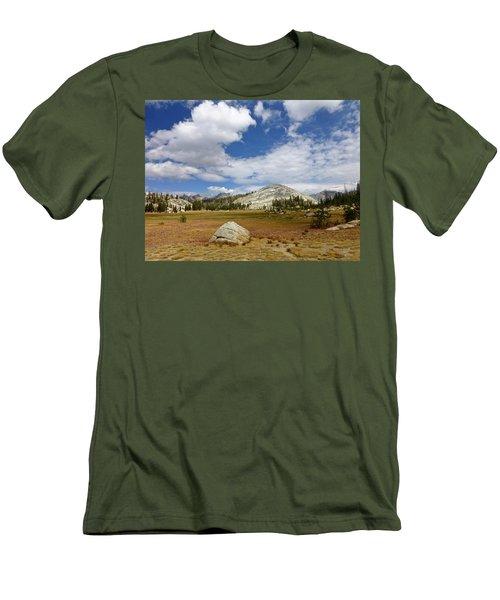 John Muir Trail High Sierra Camp Meadow Men's T-Shirt (Slim Fit) by Amelia Racca
