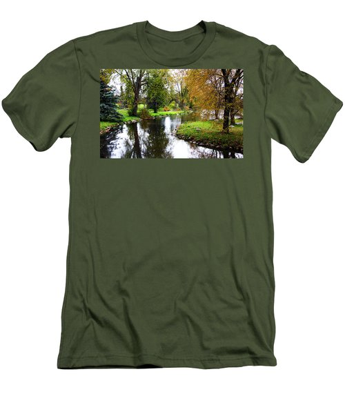 Meandering Creek In Autumn Men's T-Shirt (Athletic Fit)