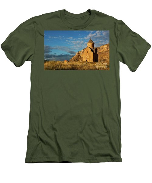 Medieval Areni Church Under Puffy Clouds, Armenia Men's T-Shirt (Slim Fit) by Gurgen Bakhshetsyan