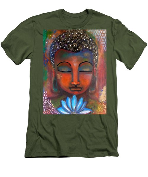 Men's T-Shirt (Slim Fit) featuring the painting Meditating Buddha With A Blue Lotus by Prerna Poojara