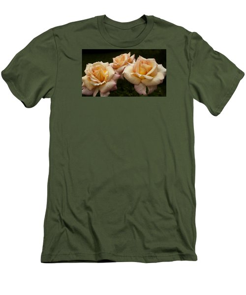 Medley Of Three Yellow Roses Men's T-Shirt (Slim Fit) by Barbara Middleton