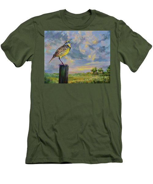 Men's T-Shirt (Slim Fit) featuring the painting Melancholy Song by AnnaJo Vahle