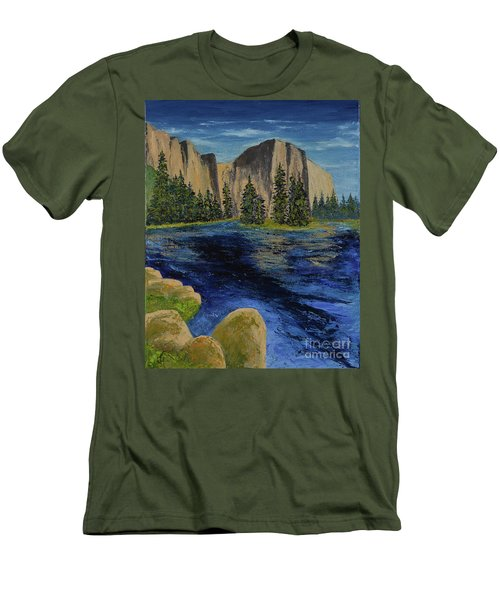 Merced River, Yosemite Park Men's T-Shirt (Athletic Fit)
