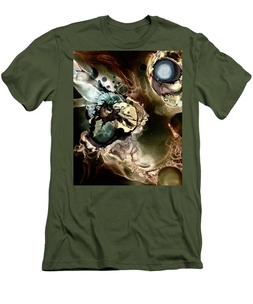 Men's T-Shirt (Slim Fit) featuring the painting Metallic Nebula by Patricia Lintner