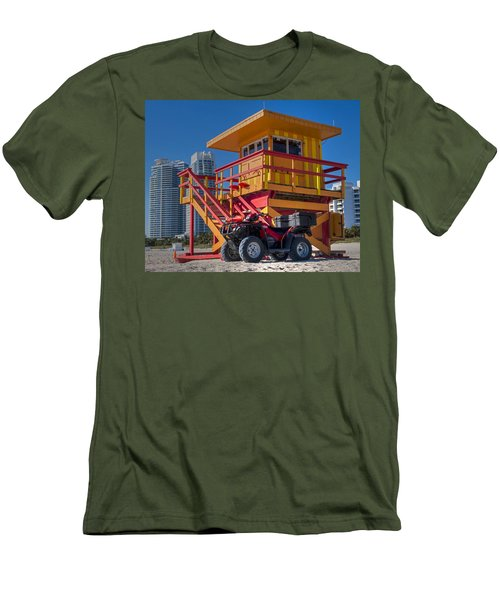 Miami Beach Lifeguard House Ocean Rescue Men's T-Shirt (Slim Fit) by Toby McGuire