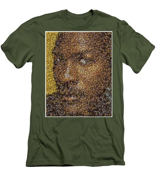 Men's T-Shirt (Slim Fit) featuring the digital art Michael Jordan Money Mosaic by Paul Van Scott