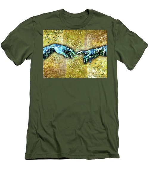 Men's T-Shirt (Slim Fit) featuring the mixed media Michelangelo's Creation Of Man by Tony Rubino