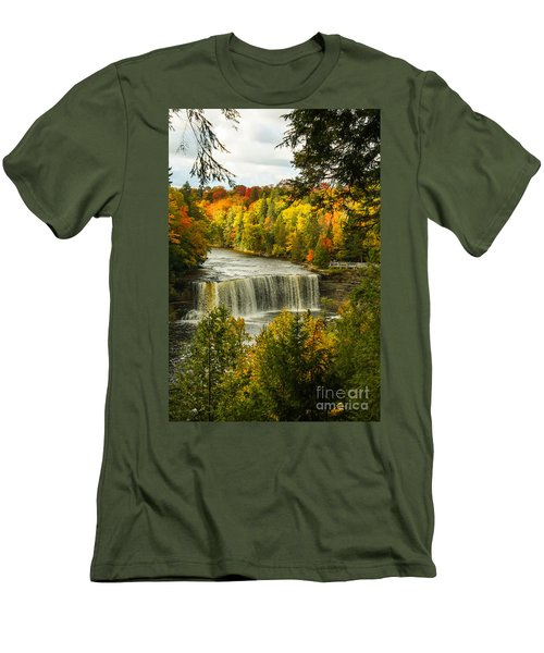 Michigan Waterfall Men's T-Shirt (Slim Fit) by Marilyn Carlyle Greiner
