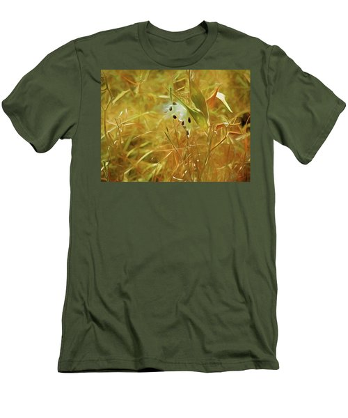 Men's T-Shirt (Athletic Fit) featuring the mixed media Milkweed In Sunlight 2 by Lynda Lehmann