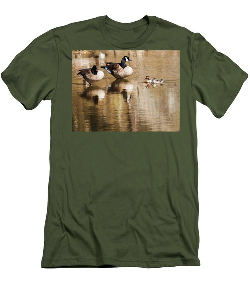 Men's T-Shirt (Slim Fit) featuring the photograph Millards And Green-wing Teal by Edward Peterson