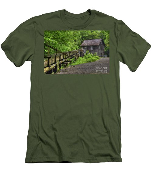 Men's T-Shirt (Slim Fit) featuring the photograph Mingus Mill 2 Mingus Creek Great Smoky Mountains Art by Reid Callaway