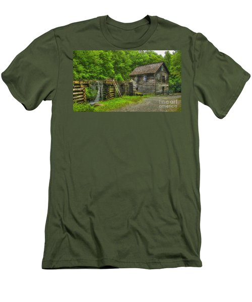 Men's T-Shirt (Slim Fit) featuring the photograph Mingus Mill 3 Mingus Creek Great Smoky Mountains Art by Reid Callaway