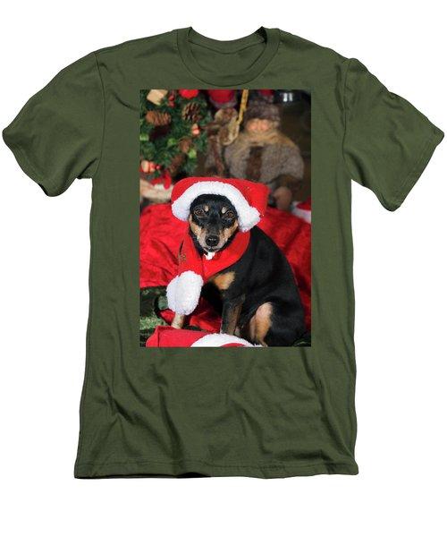 Men's T-Shirt (Slim Fit) featuring the photograph Miniature Pinscher Wishing A Merry Christmas by Christian Lagereek