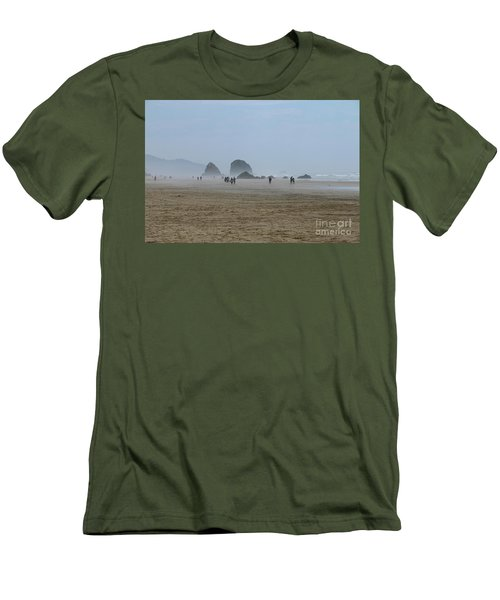 Misty Morning At Cannon Beach Men's T-Shirt (Slim Fit) by Christiane Schulze Art And Photography