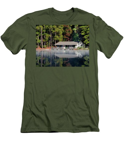 Men's T-Shirt (Slim Fit) featuring the photograph Misty Reflection At Durant by George Randy Bass