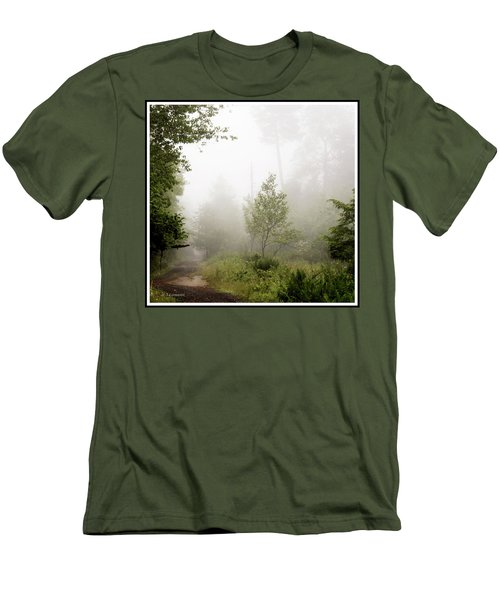 Misty Road At Forest Edge, Pocono Mountains, Pennsylvania Men's T-Shirt (Slim Fit) by A Gurmankin