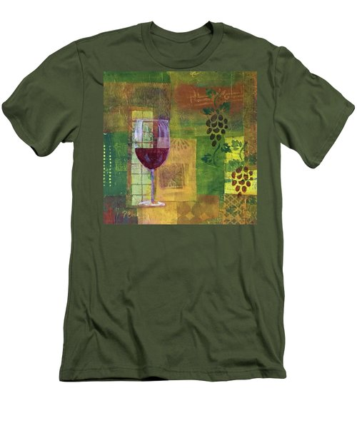 Mixed Media Painting Wine Men's T-Shirt (Slim Fit) by Patricia Cleasby