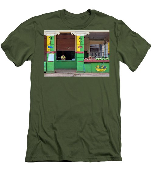 Men's T-Shirt (Athletic Fit) featuring the photograph Mjay Fruit Stand Havana Cuba by Charles Harden