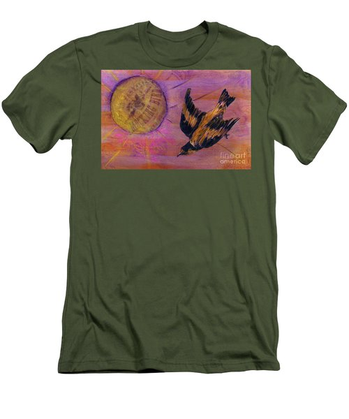 Men's T-Shirt (Slim Fit) featuring the mixed media Mockingbird by Desiree Paquette