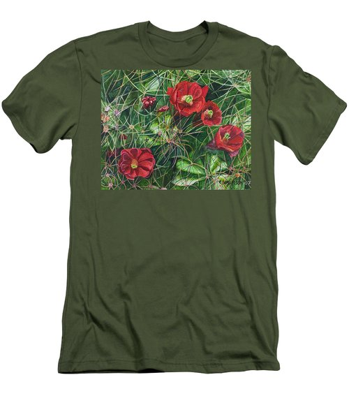Men's T-Shirt (Slim Fit) featuring the painting Mohave Mound Cactus by Eric Samuelson