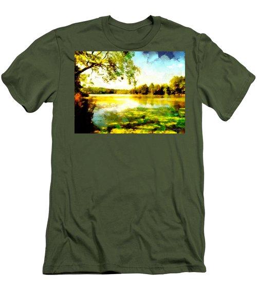 Men's T-Shirt (Athletic Fit) featuring the painting Mohegan Lake Hidden Oasis by Derek Gedney