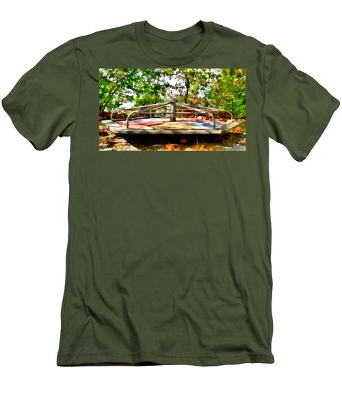 Men's T-Shirt (Athletic Fit) featuring the painting Mohegan Lake Merry-go-round by Derek Gedney