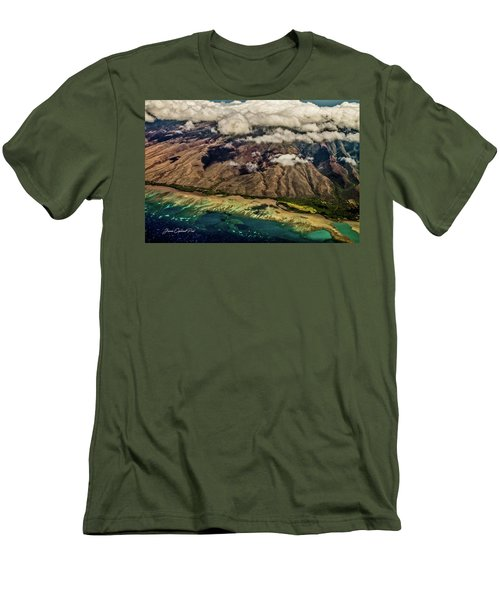 Men's T-Shirt (Slim Fit) featuring the photograph Molokai From The Sky by Joann Copeland-Paul