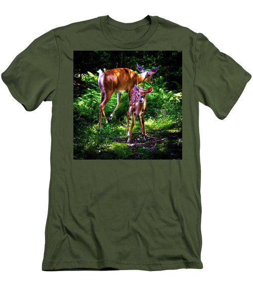 Men's T-Shirt (Athletic Fit) featuring the photograph Mom And Fawn by David Patterson