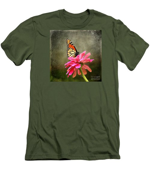 Monarch Butterfly And Pink Zinnia Men's T-Shirt (Slim Fit) by Judy Palkimas