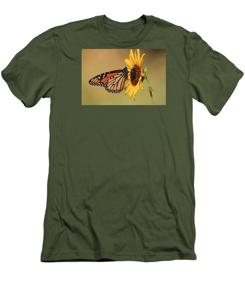 Men's T-Shirt (Slim Fit) featuring the photograph Monarch Butterfly On Sun Flower by Sheila Brown