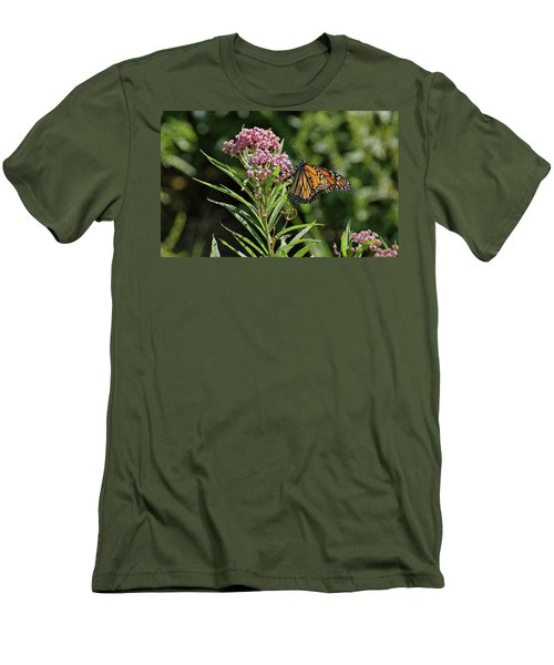 Men's T-Shirt (Slim Fit) featuring the photograph Monarch On Milkweed by Sandy Keeton