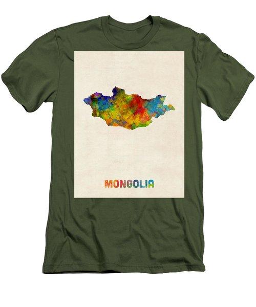 Men's T-Shirt (Slim Fit) featuring the digital art Mongolia Watercolor Map by Michael Tompsett