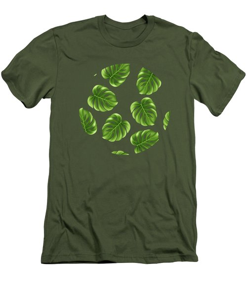Monstera Leaves Greenery Tropical Aloha Bohemian Decor Men's T-Shirt (Athletic Fit)