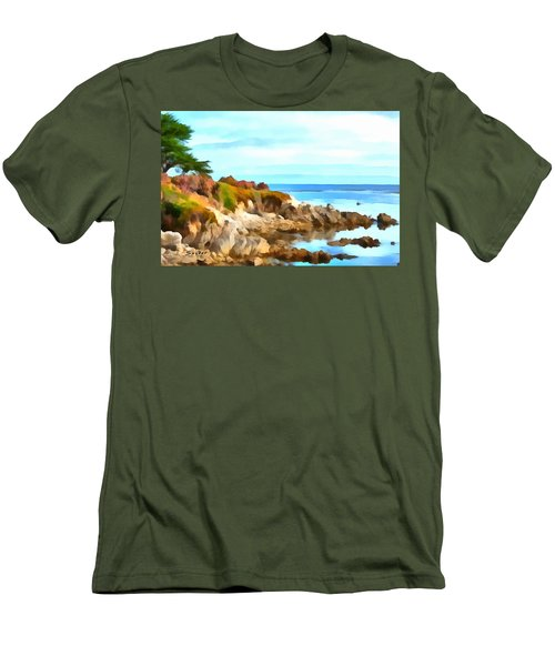 Men's T-Shirt (Slim Fit) featuring the photograph Monterey Coastline Watercolor by Floyd Snyder