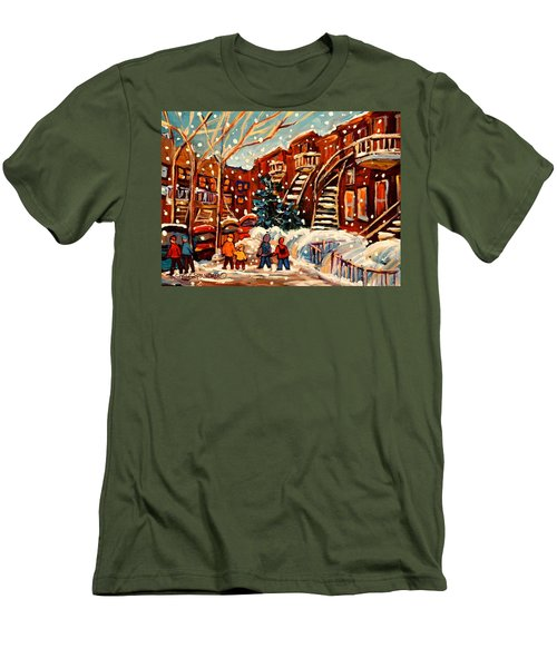 Montreal Street In Winter Men's T-Shirt (Slim Fit) by Carole Spandau