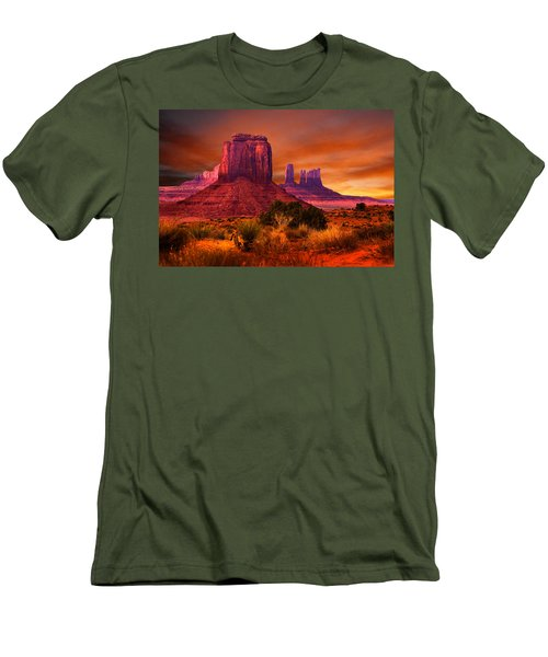 Monument Valley Sunset Men's T-Shirt (Slim Fit) by Harry Spitz