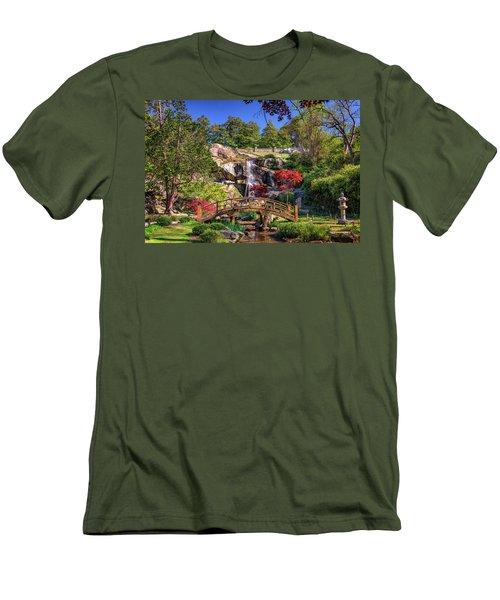 Men's T-Shirt (Slim Fit) featuring the photograph Moon Bridge And Maymont Falls by Rick Berk
