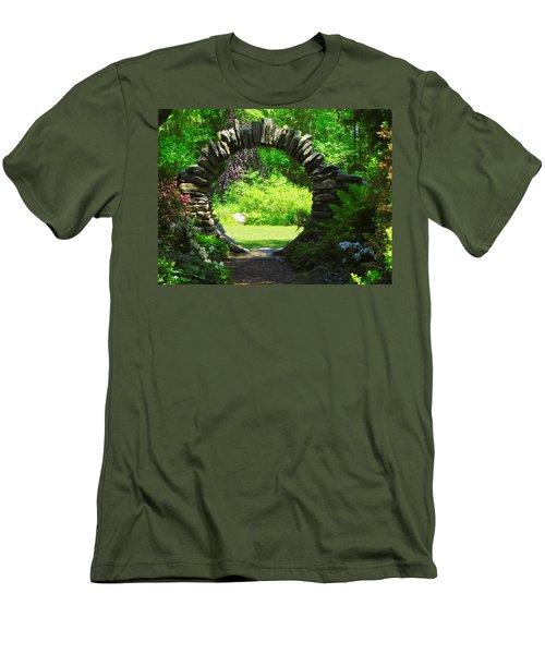 Moon Gate At Kinney Azalea Gardens Men's T-Shirt (Athletic Fit)