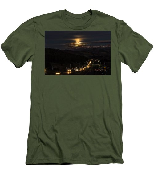 Men's T-Shirt (Slim Fit) featuring the photograph Moon Over Genessee by Kristal Kraft