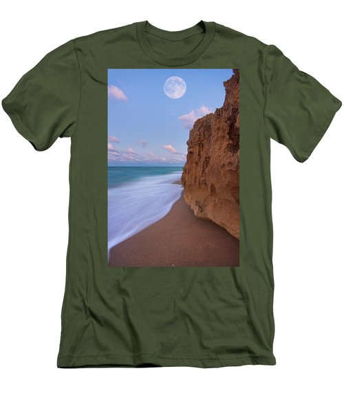 Men's T-Shirt (Slim Fit) featuring the photograph Moon Over Hutchinson Island Beach by Justin Kelefas