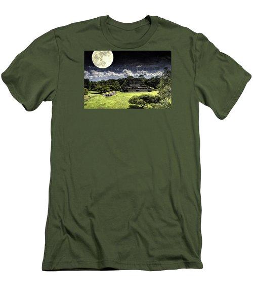 Moon Over Mayan Temple One Men's T-Shirt (Slim Fit) by Ken Frischkorn