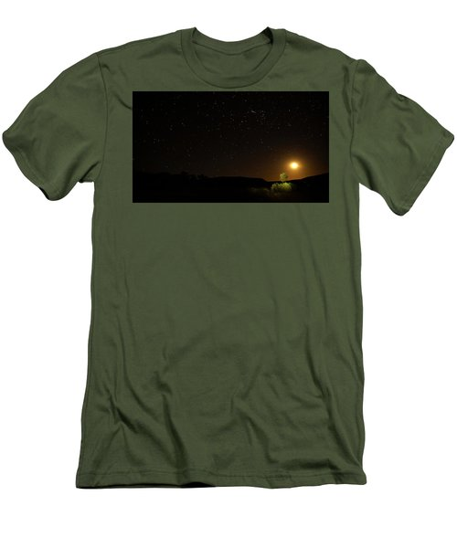 Moon Set Over Palm Valley Men's T-Shirt (Slim Fit) by Paul Svensen