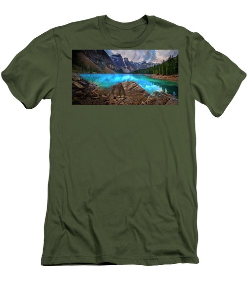 Men's T-Shirt (Slim Fit) featuring the photograph Moraine Lake by John Poon