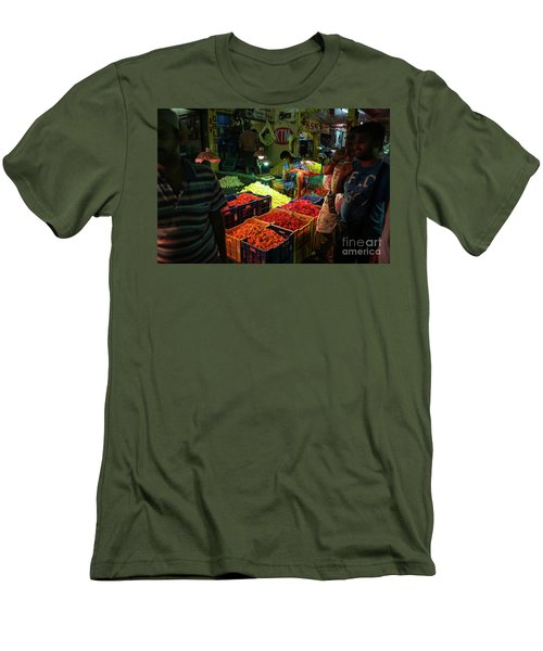 Men's T-Shirt (Slim Fit) featuring the photograph Morning Flower Market Colors by Mike Reid