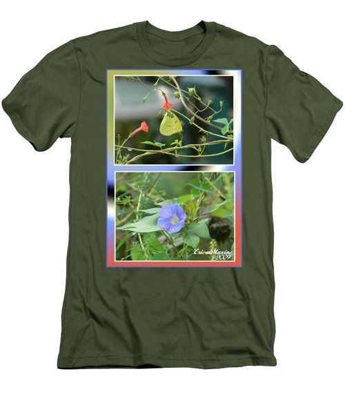 Morning Glories And Butterfly Men's T-Shirt (Slim Fit) by EricaMaxine  Price