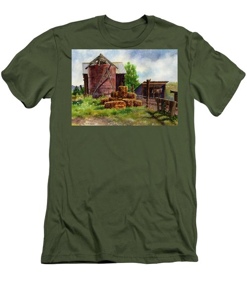 Men's T-Shirt (Slim Fit) featuring the painting Morning On The Farm by Anne Gifford