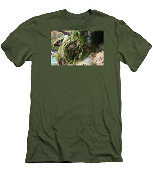 Men's T-Shirt (Slim Fit) featuring the photograph Moss And Waterfalls by Sheila Brown