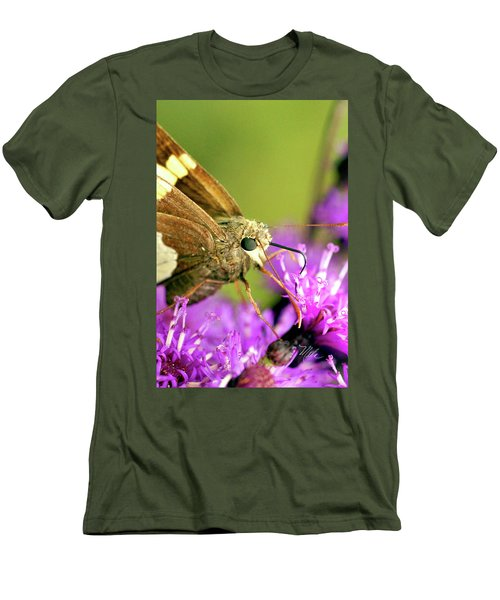 Moth On Purple Flower Men's T-Shirt (Slim Fit) by Meta Gatschenberger