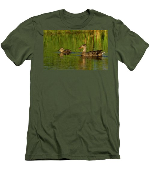 Men's T-Shirt (Slim Fit) featuring the photograph Mother And Child Mallards by Jean Noren